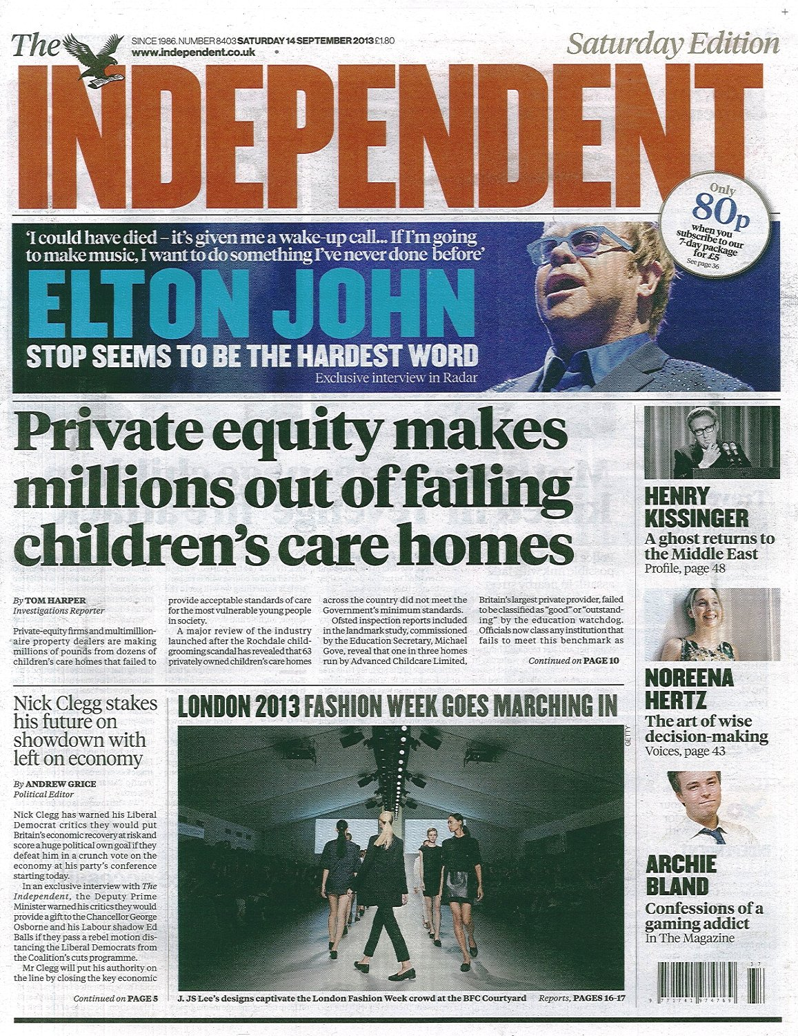 Independent cover 14 September 2013